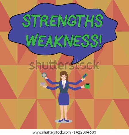 Word writing text Strengths Weakness. Business concept for Opportunity and Threat Analysis Positive and Negative Businesswoman with Four Arms Extending Sideways Holding Workers Needed Item.