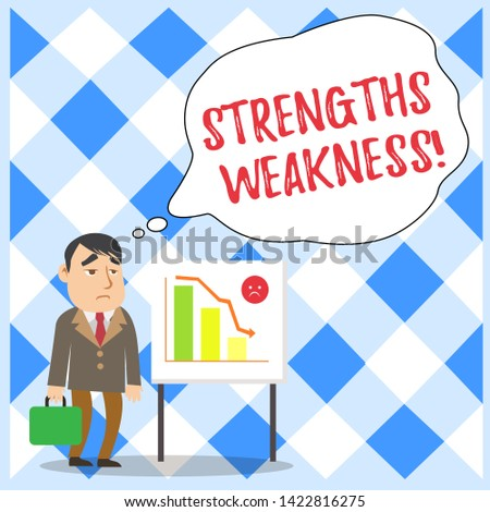 Word writing text Strengths Weakness. Business concept for Opportunity and Threat Analysis Positive and Negative Businessman Clerk with Brief Case Standing Whiteboard Declining Bar Chart.