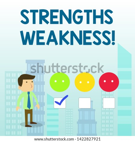 Word writing text Strengths Weakness. Business concept for Opportunity and Threat Analysis Positive and Negative White Male Questionnaire Survey Choice Checklist Satisfaction Green Tick.