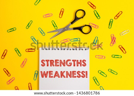 Word writing text Strengths Weakness. Business concept for Opportunity and Threat Analysis Positive and Negative Blank no color spiral notepad scissors clips colored background design.