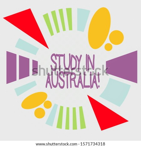 Word writing text Study In Australia. Business concept for going into foreign country order complete your studies Asymmetrical uneven shaped format pattern object outline multicolour design.