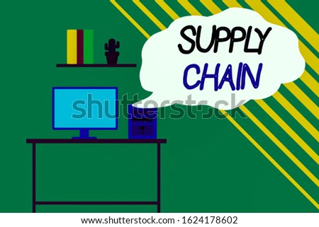 Word writing text Supply Chain. Business concept for network between a company and suppliers in producing a product Desktop computer wooden table background shelf books flower pot ornaments.