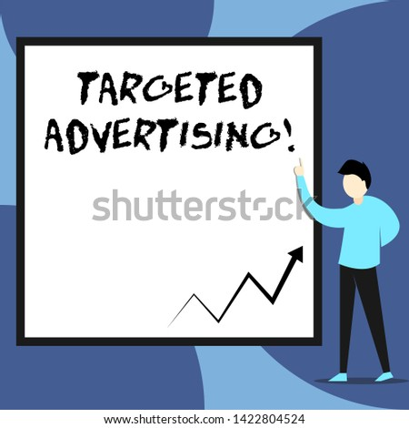 Word writing text Targeted Advertising. Business concept for Online Advertisement Ads based on consumer activity View young man standing pointing up blank rectangle Geometric background.