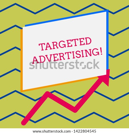 Word writing text Targeted Advertising. Business concept for Online Advertisement Ads based on consumer activity Irregular edging arrow line on the bottom of parallelogram blank papers.