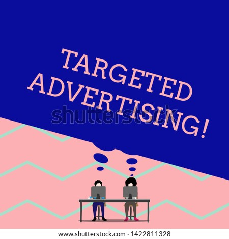 Word writing text Targeted Advertising. Business concept for Online Advertisement Ads based on consumer activity Man with purple trousers sit on chair talk to fellow near computer table.
