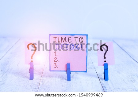Word writing text Time To Detox. Business concept for when you purify your body of toxins or stop consuming drug Scribbled and crumbling sheet with paper clips placed on the wooden table. #1540999469