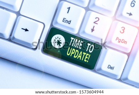 Word writing text Time To Update. Business concept for act updating something someone or updated version program White pc keyboard with empty note paper above white background key copy space. #1573604944