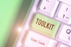 Word writing text Toolkit. Business concept for set of tools kept in a bag or box and used for a particular purpose.
