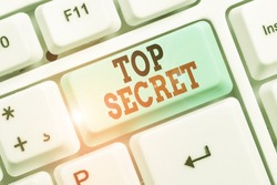 Word writing text Top Secret. Business concept for protected by a high degree of secrecy Highly confidential.