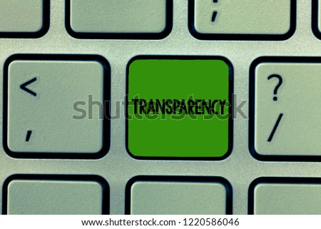 Word writing text Transparency. Business concept for Condition being transparent clear obvious evident Translucent #1220586046