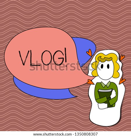 Word writing text Vlog. Business concept for Entertaining multimedia self broadcasting news reporting stories Girl Holding Book with Small Hearts Around her and Two Color Speech Bubble.
