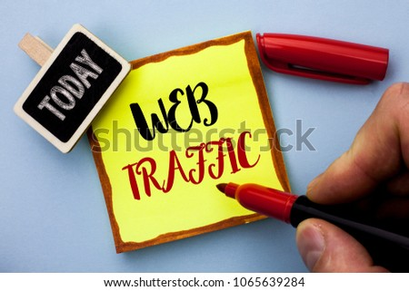 Word writing text Web Traffic. Business concept for Internet Boost Visitors Audience Visits Customers Viewers written by Man Holding Marker on Sticky Note Paper on the plain background Today #1065639284