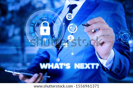 Word writing text What S Next Question. Business concept for asking demonstrating about his coming actions or behaviors Picture photo system network scheme modern technology smart device. #1556961371