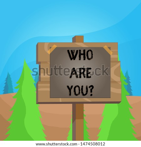 Word writing text Who Are You question. Business concept for asking about demonstrating identity or demonstratingal information Wood plank wooden stick pole paper note attached adhesive tape empty