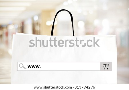 Word www. written on search bar over shopping bag and blur store background, web banner, online shopping background, business, E-commerce