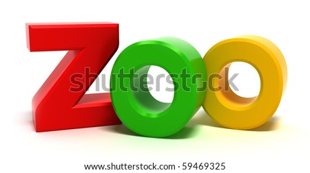 Word zoo with colourful letters. 3D concept on white background.