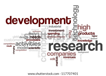 Wordcloud centered on research and development topic