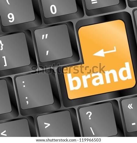 Wording brand on computer keyboard, raster