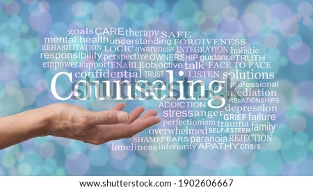 Words Associated with Counseling Word Cloud - female therapist with open palm and the word COUNSELING floating above surrounded by relevant words on a  blue green purple bokeh background