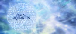 Words Associated with The Age of Aquarius Word Tag Cloud - a circular word cloud relevant to the new era of Aquarius against a flowing watery blue green lemon purple mystical ethereal  background