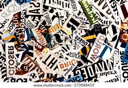 Royalty free words cut from a magazine background 373088500 stock words cut from a magazine background 373088419 publicscrutiny Choice Image