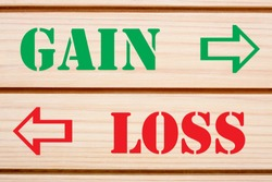 Words Gain And Loss written on wood wall decor. Business Concepts.