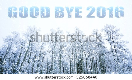 words good bye 2016 on winter background #525068440