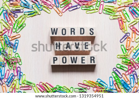 Words Have Power word cube on wood background ,English language learning concept #1319354951