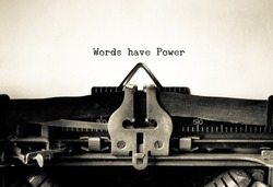 Words Have Power words  typed on a Vintage Typewriter.