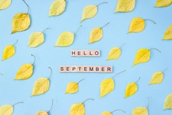 Words Hello September. Wooden blocks with lettering on light blue background decorated with autumn leaves. Goodbye summer concept. Top view, flat lay