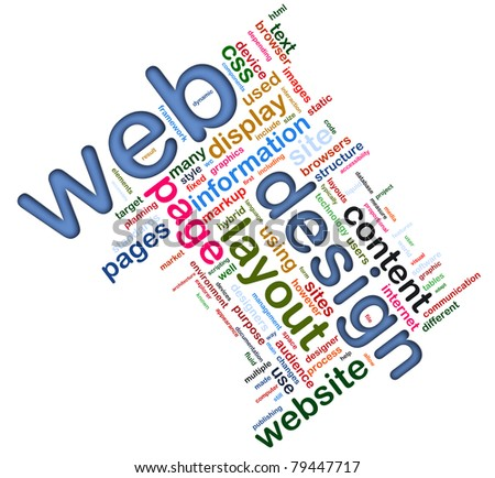 Words in a wordcloud of web design. Concept of web designing.