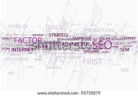 Words in a wordcloud related to SEO - search optimization concept
