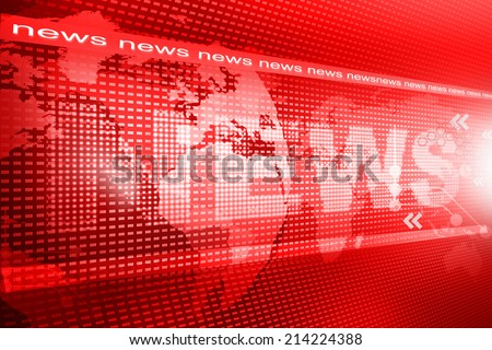 words News on digital red background