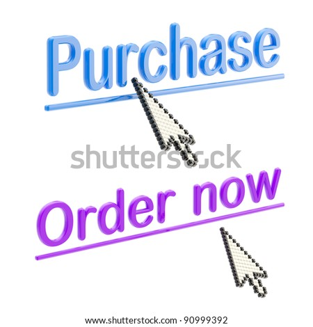 "Words ""purchase"" and ""order now"" surrounded with glossy three-dimensional plastic cursors isolated on white"