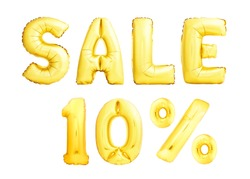 Words Sale 10% ten percent made of golden inflatable balloons isolated on white background. Golden helium balloons forming Sale discount concept.