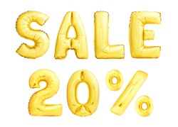 Words Sale 20% twenty percent made of golden inflatable balloons isolated on white background. Golden helium balloons forming Sale discount concept.