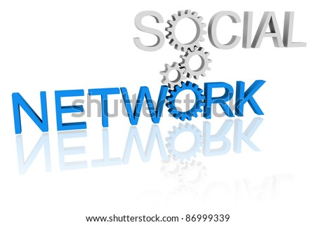 "Words ""social"" and ""network"" connected by cogwheels - social networking concept"
