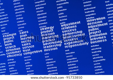 words that describe the problems related to marketing are displayed on a computer screen