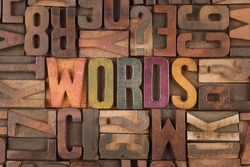 words word in vintage letterpress wooden blocks