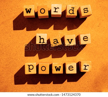 words  Words Have Power written in  wooden alphabet letters isolated on an craft paper - carton background with empty copy space #1473124370