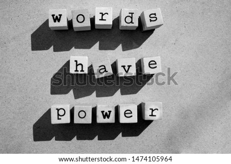 words  Words Have Power written in  wooden alphabet letters isolated on an craft paper - carton background with empty copy space #1474105964
