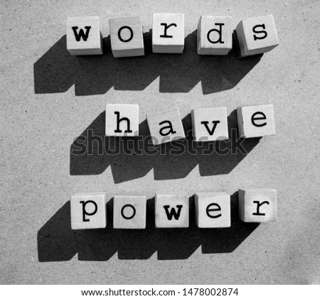 words  Words Have Power written in  wooden alphabet letters isolated on an craft paper - carton background with empty copy space #1478002874
