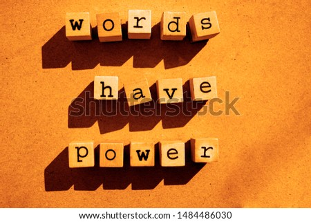 words  Words Have Power written in  wooden alphabet letters isolated on an craft paper - carton background with empty copy space #1484486030