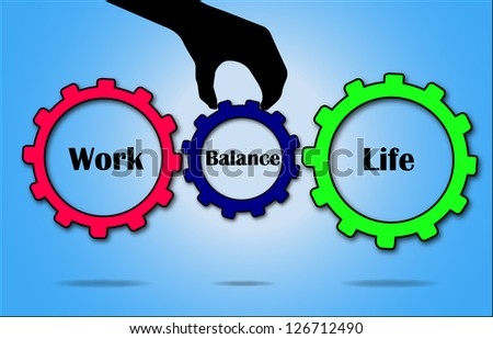 Work and Life Balance concept illustration using Gears and hand silhouette