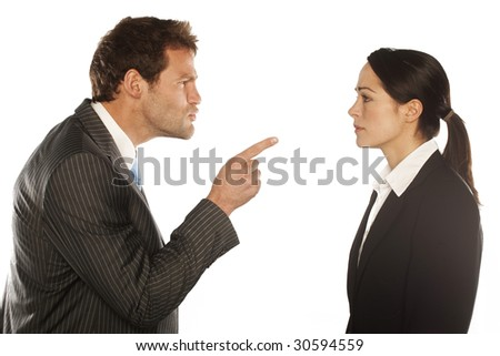 Work Colleagues arguing on white background