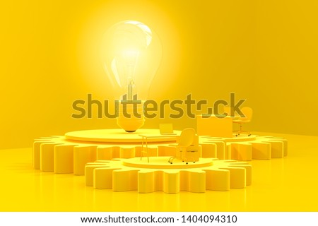 Work desk and light bulb yellow color on the gear. minimal and creative idea concept, 3d render.