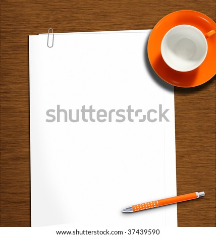 work desk with plain paper, pencil and empty coffeecup