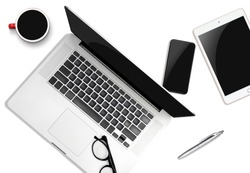 Work from home concept.Mock up of laptop and tablet, smartphone with blank screen isolated on white background. a business computer ,new work concept