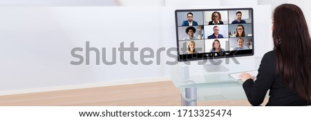 Work From Home Video Conferencing Call On Computer
