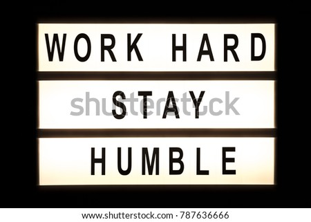 Work hard stay humble hanging light box sign board. #787636666